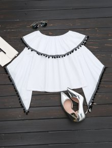 Ruffles Off Shoulder Poms Flare Sleeve Top - White