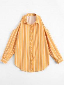 Stripes Loose Cold Shoulder Shirt - Stripe L