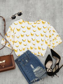 Drop Shoulder Banana Print Crop Blouse - White