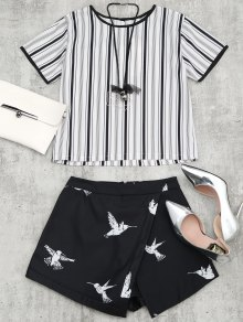 Bird Print Striped Suit With Necklace - Black M
