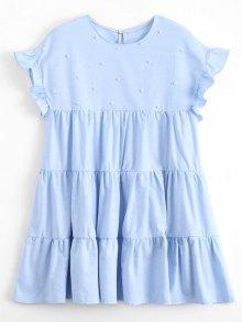 Ruffles Beading Tunic Mini Dress - Light Blue S