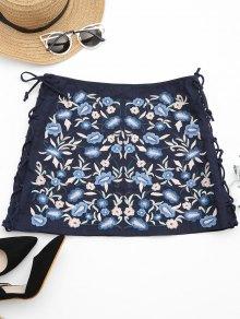 Ate Para Arriba Floral Bordado Una Falda De La Línea - Azul Purpúreo L