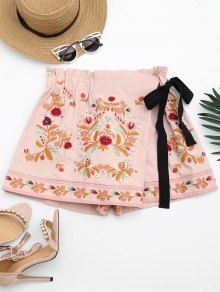 Bowknot Floral Embroidered Culotte Shorts - Pink L