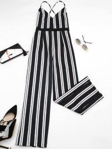 Criss Cross Stripes Wide Leg Jumpsuit - Stripe M