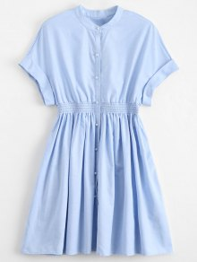Smocked Waist Button Up Casual Dress - Light Blue M