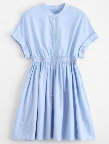 Smocked Waist Button Up Casual Dress - Light Blue S