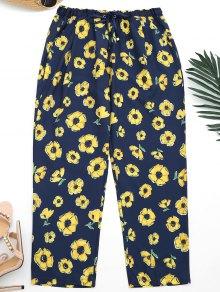 Noveno Pantalones Florales De Los Pies Estrechos - Azul Purpúreo L