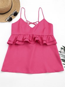 Cami Ruffles Lace Up Tank Top - Rose Red S
