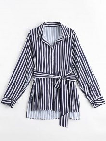 Longline Belted Stripes Side Slit Shirt - Stripe L