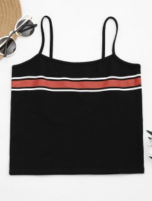 Cami Stripes Panel Tank Top - Black M