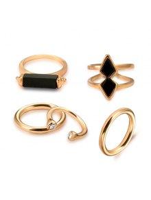 هندسي خمر خاتم الكفة مجموعة - ذهبي