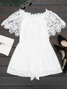Off The Shoulder Lace Panel Romper - Blanc S
