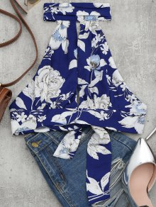 Floral Print Cut Out Sleeveless Crop Top - Floral S