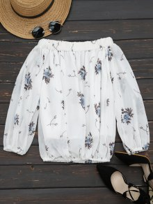 Off The Shoulder Flower Printed Blouse - White M