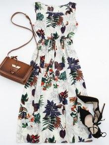 فستان عالية الخصر طباعة الأوراق ماكسي - الأزهار Xl