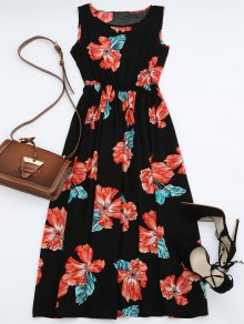 High Waisted Sleeveless Floral Maxi Dress - Black Xl