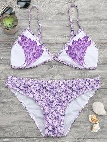 Feather Rose Print Plunge Bikini Set - Purple L