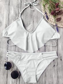Flutter Draped Halter Bikini Set - Gris Blanco L