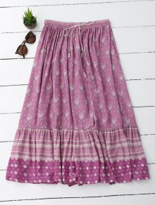 Flounces Tribal Print A Line Skirt - Light Purple M