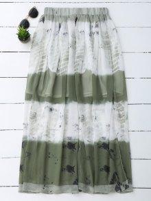 Printed Chiffon Slit A Line Skirt - White L