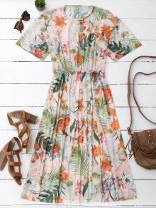 Elástico Cintura Simple Floral Vestido De Midi - Floral L