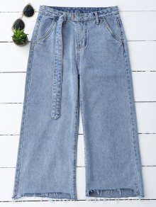 High Low Hem Cutoffs Wide Leg Jeans - Denim Blue L