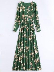 Long Sleeve Buttons Tiny Floral Maxi Dress - Green Xs