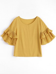 Tiered Flare Sleeve Blouse - Ginger