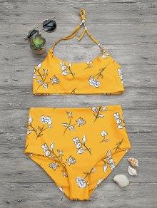 Slimming Control High Waisted Bralette Bikini Set - Mustard L