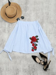 Floral Patched Off The Shoulder Striped Blouse - Light Blue S