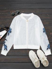 Floral Print Zip Up Jacket - Blue M