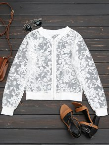 Sheer Floral Embroidered Zip Up Jacket - White L