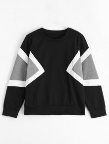 Contrast Long Sleeves Pullover Sweatshirt - Multi