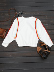 الطاقم الرقبة البلوز التباين - أبيض