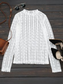Sheer Long Sleeve Lace Blouse - White