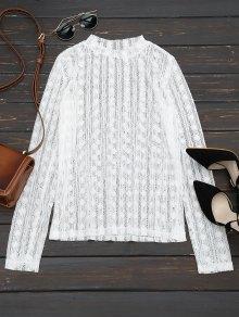Sheer Long Sleeve Lace Blouse - White