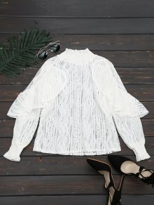 Ruffle Hem Sheer Blouse - White L