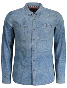 Mirco Patterned Washed Mens Denim Shirt - Indigo M