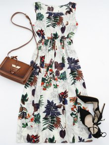 High Waisted Leaf Print Maxi Dress - Floral L