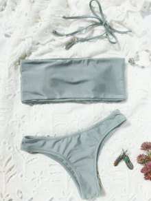 High Cut Bandeau Thong Bathing Suit - Light Gray S