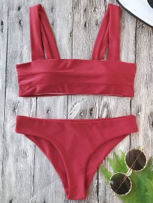 Padded Wide Straps Bandeau Bikini Set - Red M