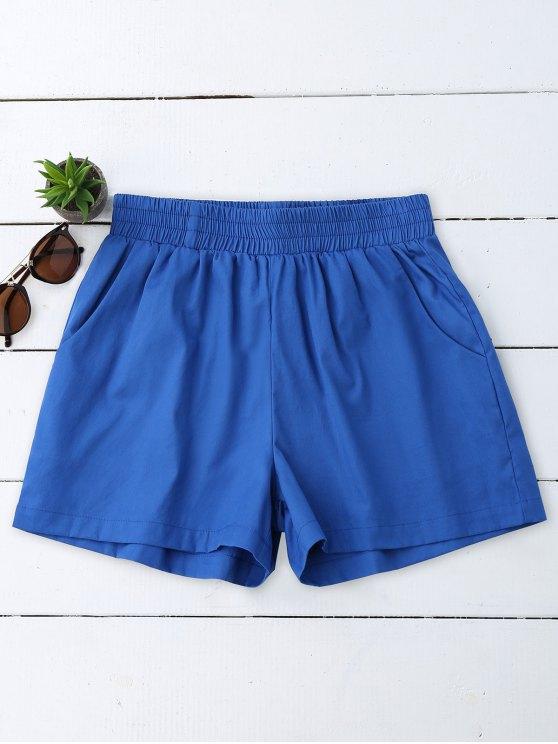 Pantalones cortos ocasionales de alta cintura - Azul L