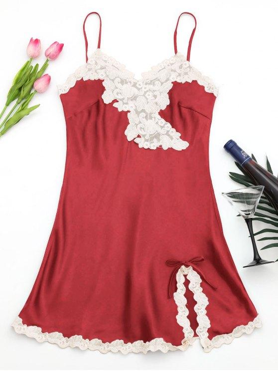 Vestido de raso de satén brillante - Rojo XL