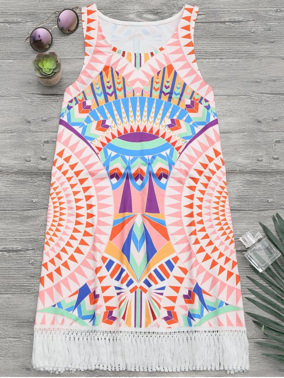 فستان طباعة افريقيا شاطئ غلاف سترة - متعدد الألوان XL