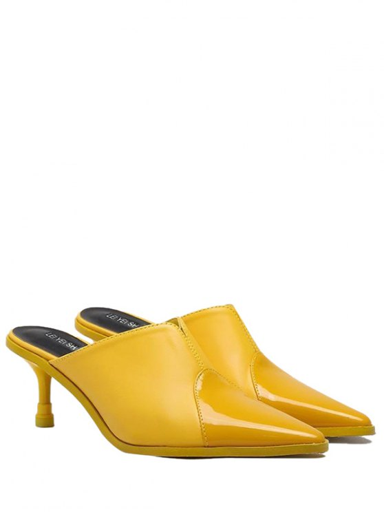 fashion Faux Leather Pointed Toe Slippers - YELLOW 37