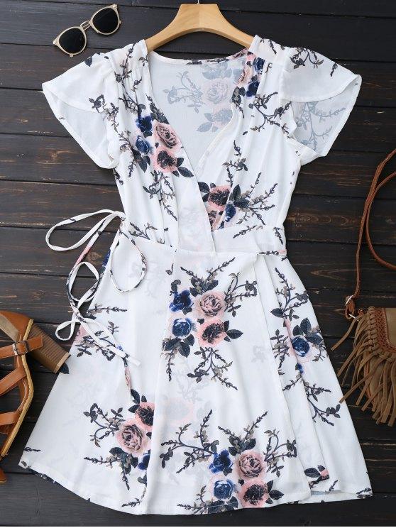 Mini vestido floral de la playa - Blanco M