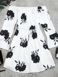 Floral Print Long Sleeve Dress - Black L