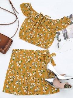 Floral Off Shoulder Top Et Wrap Mini Skirt - Orange Jaune L