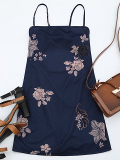 Floral Print Backless Cami Dress - Purplish Blue Xl