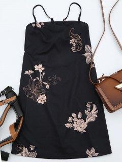 Floral Print Backless Cami Dress - Black Xl